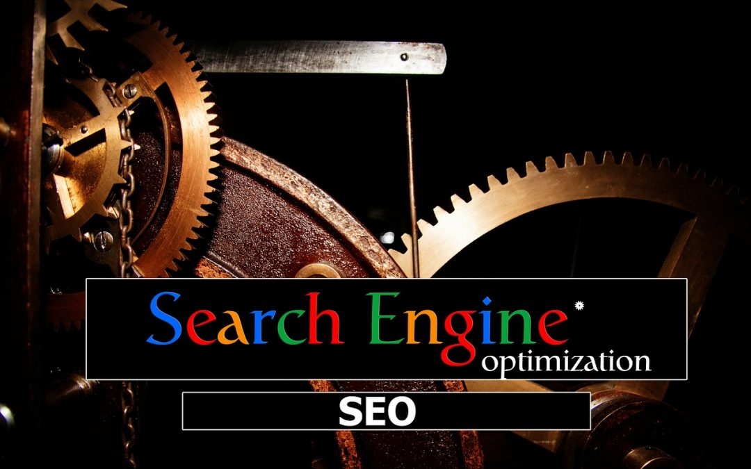 Image of mechanical gears and words saying Search engine Optimization in different colors. SEO image.