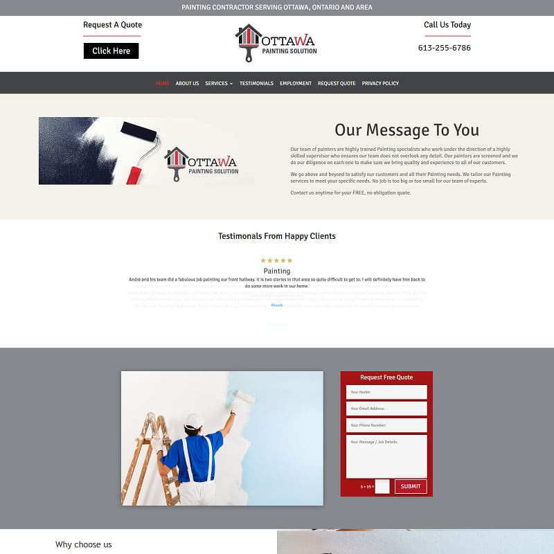 Ottawa Painting Solution website example